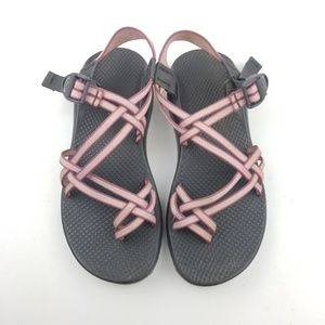 Chaco Strappy Pink Striped Vibram Support Sandals